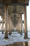 Huntington Beach Pier, California. Underneath view of the Huntington Beach Pier in orange County, California stock photos