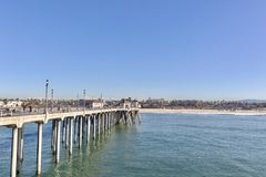 Huntington Beach Pier and coastline stock image