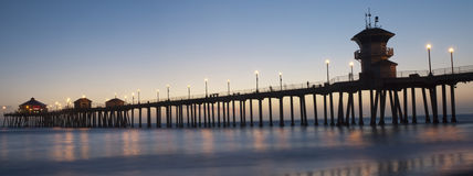 Huntington beach pier panorama Stock Photography