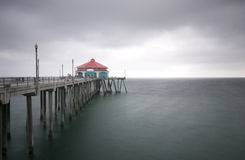 Huntington Beach Pier Storm Fotografie Stock