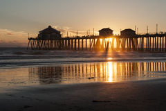 Huntington Beach Pier Sunburst Stock Images