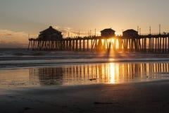 Huntington Beach Pier Sunburst Stock Images