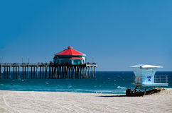 Huntington Beach Pier. On a sunny afternoon Royalty Free Stock Image