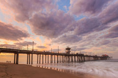 The Huntington Beach pier at sunrise Stock Images