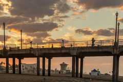 The Huntington Beach pier at sunrise Royalty Free Stock Image