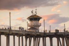 The Huntington Beach pier at sunrise Royalty Free Stock Photos