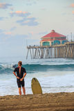 The Huntington Beach pier at sunrise Royalty Free Stock Image