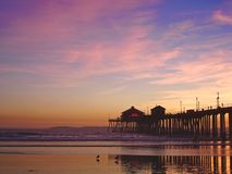 Huntington Beach Pier at sunset Stock Photos