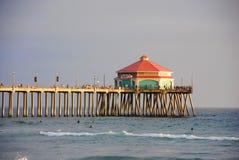 HUNTINGTON BEACH, CALIFORNIA/UNITED STATES - JANUARY 26, 2015: Huntington beach pier at sunset royalty free stock images