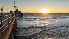 Huntington Beach Pier Sunset Royalty Free Stock Photos