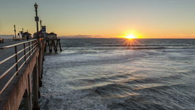 Huntington Beach Pier Sunset Time Lapse stock video footage
