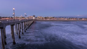 Huntington Beach Pier Sunset Time Lapse stock video