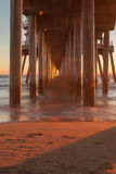 Huntington Beach pier at sunset Royalty Free Stock Images