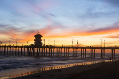Huntington Beach pier sunset Royalty Free Stock Image