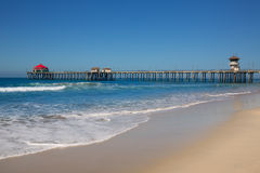 Huntington beach Pier Surf City USA with lifeguard tower Stock Photo