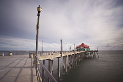 Huntington Beach Pier Wide Angle Long Exposure Royalty Free Stock Image