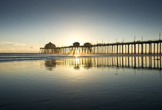 Huntington Beach Pier Wide Angle Reflection Sunset Royalty Free Stock Photography