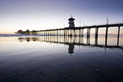 Huntington Beach Pier Wide Angle Reflections Stock Image