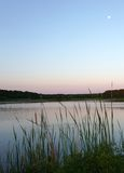 Huntington Beach State Park. Full moon and sunrise in Huntington Beach State Park, South Carolina Stock Photos