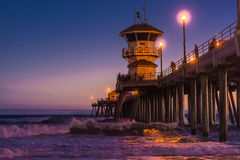Huntington Beach-Strand nachts Lizenzfreie Stockbilder