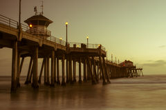 Huntington Beach sunset pier Royalty Free Stock Photo