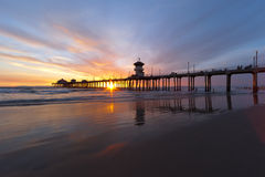 Huntington Beach. Sunset Scene Royalty Free Stock Images