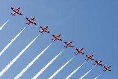 Canadian Forces Snowbirds performing at the Huntington Beach Air stock photo