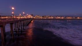 Huntington Beachpijler bij Schemering stock afbeelding