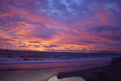Huntington Beachsolnedgång Royaltyfri Bild