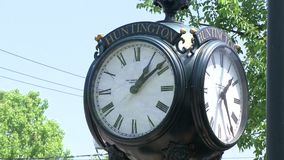 Huntington clock tower. A view or scene from around town stock video