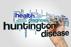 Huntington disease word cloud concept. Huntington disease word cloud on grey background Stock Image