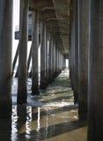 Huntington pier pylons. Huntington pier concrete structure pylons shot from under the pier Stock Photo