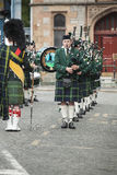 Huntly Pipe marching band. In Huntly Square in Aberdeenshire, Scotland stock image