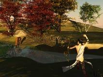 Huntress et cerfs communs Photo libre de droits