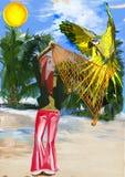Huntress parrots (digital painting) Stock Photos