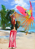 Huntress parrots (digital painting) Royalty Free Stock Image