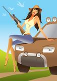 Huntress sitting on an offroad car Royalty Free Stock Images