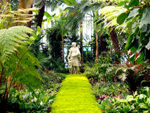 Huntress With A Dog Statue In Corridors Of Royal Greenhouses In Brussels Stock Photography
