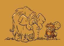 Huntsman caveman mammoth Stock Images