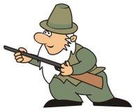Huntsman. Hunter with rifle - humorous illustration Royalty Free Stock Photography