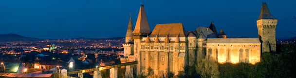 Hunyad Castle Panorama Romania Royalty Free Stock Photos