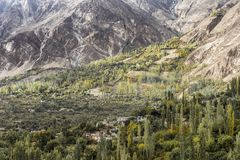 View of Hunza Valley, Pakistan. The Hunza is a mountainous valley in the Gilgit-Baltistan region of Pakistan. The Hunza is situated in the extreme northern part Royalty Free Stock Photo