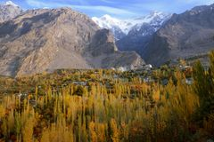 Hunza Valley in autumn. stock photography