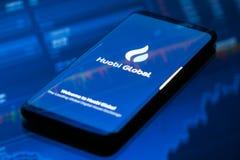 Huobi Global mobile app running on smartphone. KYRENIA, CYPRUS - SEPTEMBER 21, 2018: Huobi Global mobile app running on smartphone. Huobi - one of the largest royalty free stock image