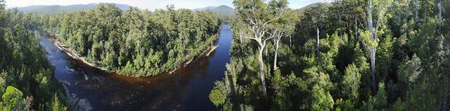 Huon Fluss-Panorama, Tasmanien Stockbild