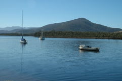 Huon River boats Stock Photo