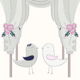 Hupa with birds. Jewish wedding invitation. Royalty Free Stock Images