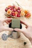 Hur kan man gör blom- ordning i tappning som bevattnar Royaltyfria Bilder