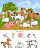 Hur många djur Räkna den bildande leken med olika lantgårddjur för förskole- ungar vektor illustrationer