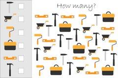 Hur många räknande lek med byggnadsbilder för ungar, bildande matematikuppgift för utvecklingen av logiskt tänka stock illustrationer